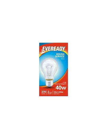 40w Eveready Clear GLS Rough Service bulb