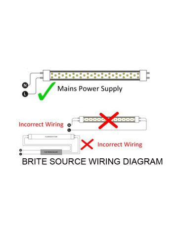 Brite Source 9w 2ft LED T8 Tube - Daylight 6000k - Single Ended Wiring