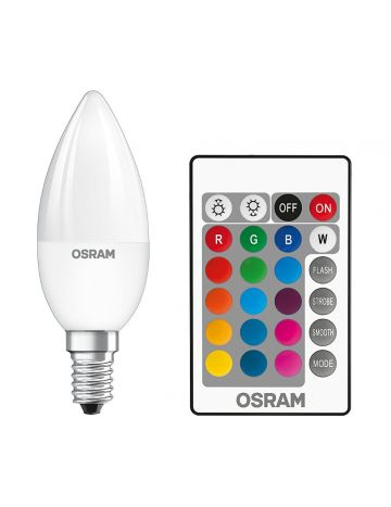 5w Osram LED Star Colour Changing / Dimmable Candle Light Bulb (Red Green Blue White) - Comes with Remote Control