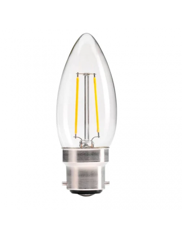 Energizer 2.4w (=25w) LED Clear Filament Candle (Extra Warm White / 2700k) - Bayonet Cap