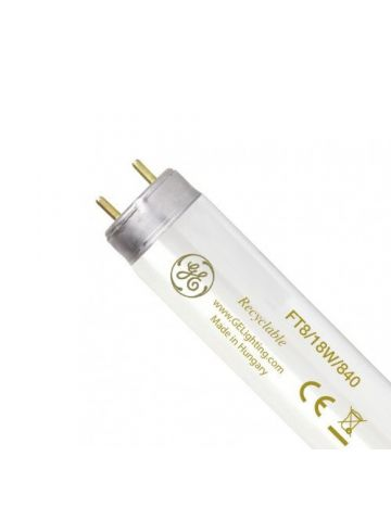 GE 2' 18w T8 Triphosphor Fluorescent Tube - Cool White / 4000k (G13 Cap)