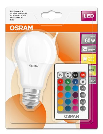 10w Osram LED Star Colour Changing / Dimmable GLS Light Bulb (Red Green Blue White) - Comes with Remote Control