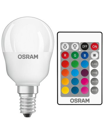5w Osram LED Star Colour Changing / Dimmable Golf Ball Light Bulb (Red Green Blue White) - Comes with Remote Control