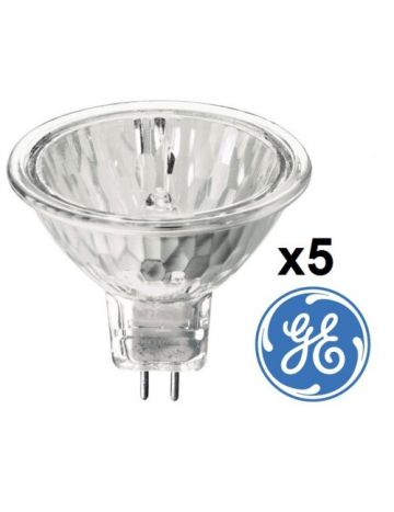 5 x 50w GE MR16 Halogen Spotlight Lamp 12v GU5.3 Reflector Light Bulb 2700k very warm white