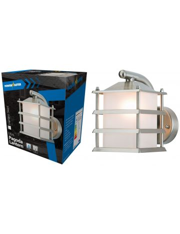PowerMaster 4-Sided Pagoda Stainless Steel Grill Wall Lantern – Diffused Glass (IP44 Rated)