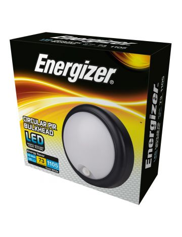 Energizer 15w Round PIR Outdoor/Indoor Bulkhead - Cool White / 4000k