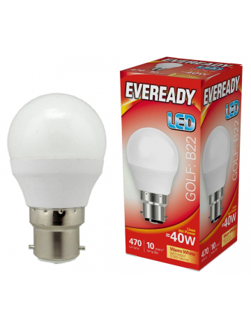 10 x Eveready 6w (=40w) LED Opal Golf Ball Lamp - Bayonet Cap (Warm White / 3000k)