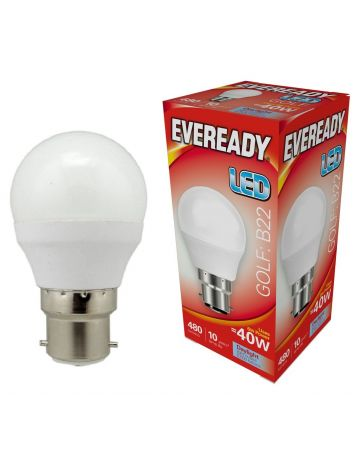 Eveready 6w (=40w) LED Golf Ball Lamp - Bayonet Cap (Daylight White / 6500k)