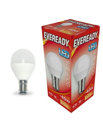 Eveready 6w (=40w) LED Opal Golf Ball Lamp - Small Bayonet Cap (Warm White / 3000k)