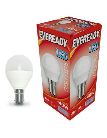 Eveready 6w (=40w) LED Golf Ball Lamp - Small Bayonet Cap (Daylight White / 6500k)
