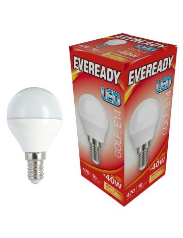 10 x Eveready 6w (=40w) LED Golf Ball Lamp – Small Edison Screw (Warm White / 3000k)