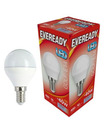 Eveready 6w (=40w) LED Golf Ball Lamp – Small Edison Screw (Daylight White / 6500k)