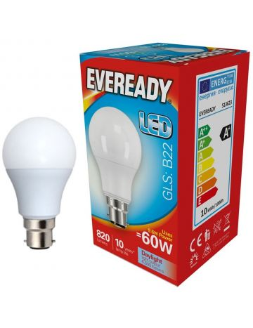 Eveready 9.6w (=60w) LED Opal GLS Bulb – Bayonet Cap (Daylight White / 6500k)