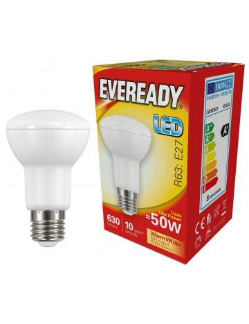 Eveready 7.8w (=50w) LED Opal R63 Bulb –Edison Screw (Warm White / 3000k)