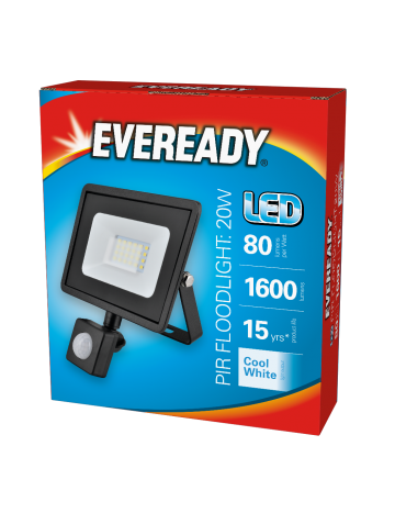 Eveready Black 20w LED PIR Floodlight - Cool White / 4000k
