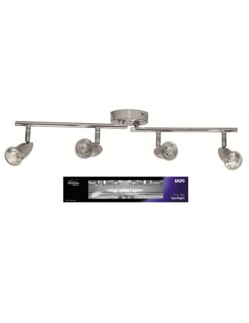 PowerMaster Indoor Basic Four Spotlight Bar – Chrome Finish (Fits 4 Bulbs)