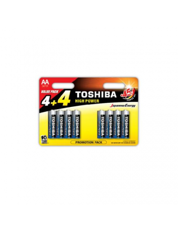 Toshiba AA High Power Pack of 8 (4+4) Alkaline Batteries
