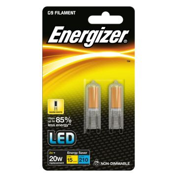 2 x ENERGIZER Bulb capsule G9 filament 2W replaces 20W 3000K warm white A ++
