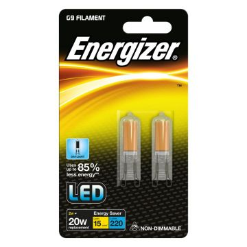 2 x ENERGIZER Bulb capsule G9 filament 2W replaces 20W 6500K daylight A ++