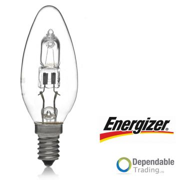 ENERGIZER 42w = 60w SES (E14) Clear HALOGEN Energy saving Candle (S5421)