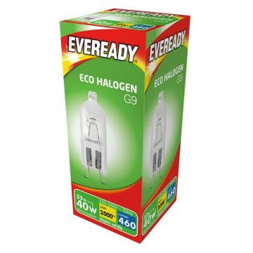 33w (40w) G9 Halogen Capsule Dimmable, Safety Fused, Clear (Eveready S10110)