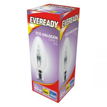 33w (40w) Halogen Candle Light Bulb B15 SBC Small Bayonet Cap (Eveready S10117)