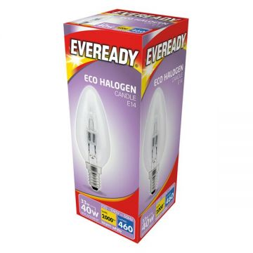 33w (40w) Halogen Candle Bulb E14 SES Small Edison Screw (Eveready S10119)
