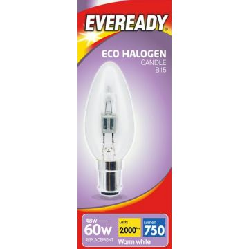 48w (60w) Halogen Candle Light Bulb B15 SBC Small Bayonet Cap (Eveready S10121)
