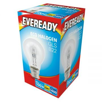 80w (100w) Halogen GLS (A60) Light Bulb B22 BC Bayonet Cap (Eveready S10136)